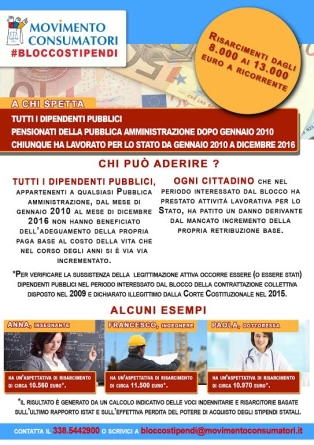 Blocco degli stipendi, indennizzi tra gli 8 e i 13 mila euro per ogni dipendente